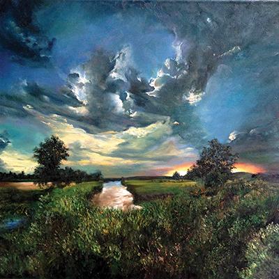 Changing Clouds, Shyama Nadimpalli, oil on canvas, 61 x 61 cm