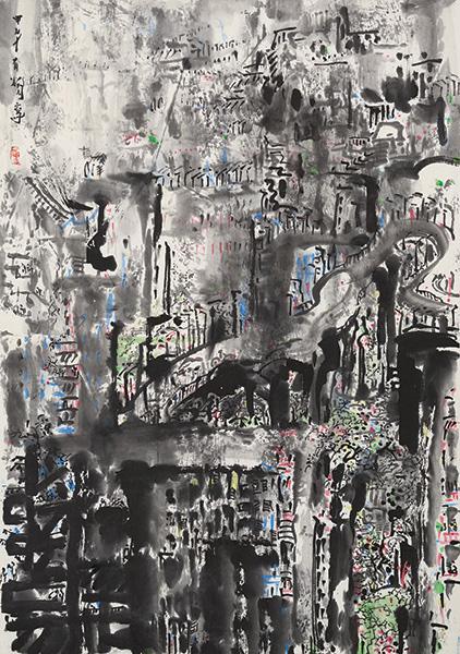 Tan Oe Pang, Singapura, Ink and Colour on Paper, 2014, 70 x 47.5cm