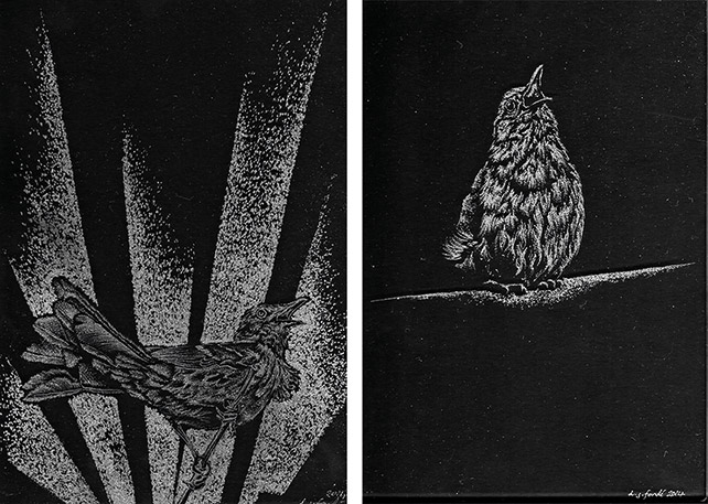 left: Dominic Fondé, Aria – Brown Thrasher drill engraved glass; right: Solo – Nightingale, drill engraved glass
