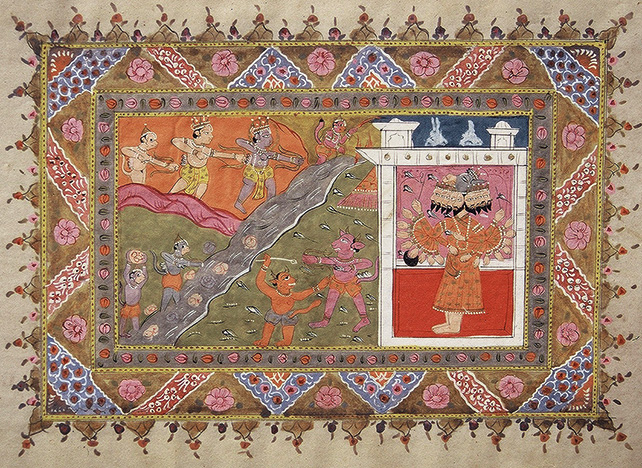 Ravan retreating to his palace, Ramayana Series, Pahari, early 19th century, 30 x 21 cm