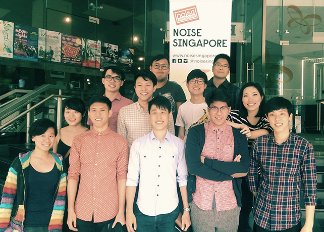 Noise Singapore 2014 Award Winners L-R: Michelle Lim, Charmaine Poh​,​ Take Two​, ​Ellipsis and Moses Tan (in gray tee at back)