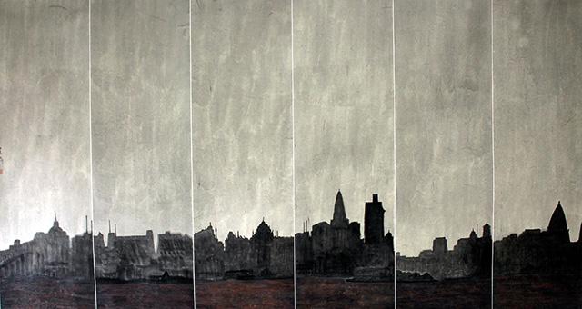 Li Jian Gang, Dawn Creeps upon this City, Chinese ink on paper, 95 x 175 cm