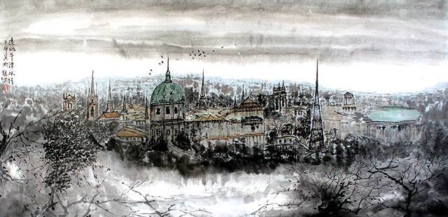 Li Jian Gang, A View of Oxford, 2011, Chinese ink on paper, 125 x 100 cm