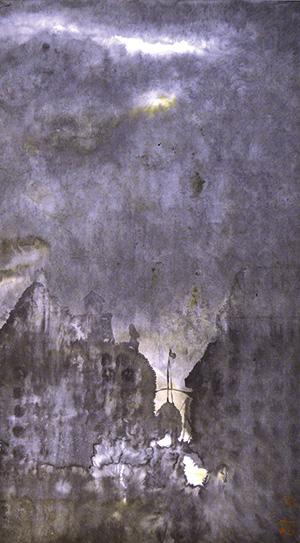 Li Jian Gang, Dusk, Chinese ink on paper, 69 x 39 cm