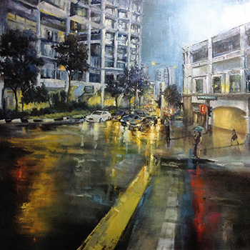 City Riparian 05, Danya Yu, Oil on Canvas 100 x 100 cm, 2014