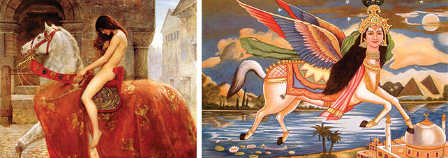Left: Lady Godiva, Oil on canvas, 142.2 x 183 cm 1898, Herbert Art Gallery and Museum Image source: Wikipedia Right: Buraq, an Islamic mythical creature Image source: www.harekrsna.de