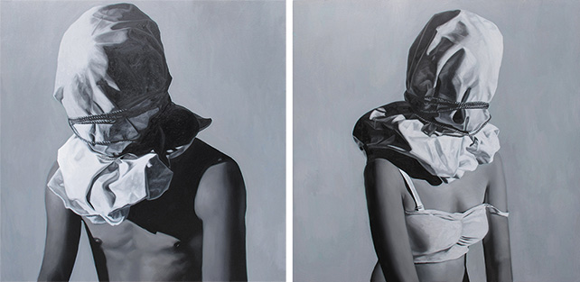 Carlo Gabuco, The failure in between 1 and 2, oil on canvas, 152 x 152 cm each, 2014
