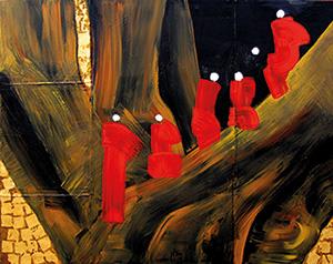 Nann Nann, Six Monks in the Red Robe Acrylic, 48 x 60 cm, 2014