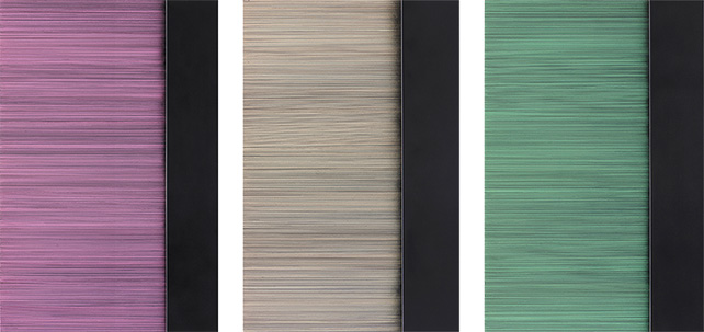 """Artworks from the exhibition """"The Reign of Quantity by Peter Peri"""" at Pearl Lam Galleries. The exhibition is shown till 9 November 2014. From left to right:  Head, street, street, head, 2014, Marker pen and spray paint on linen, 175 x 115 cm Uncting, 2014, Marker pen and spray paint on linen, 175 x 115 cm Lerna, 2014, Marker pen and spray paint on linen, 175 x 115 cm"""