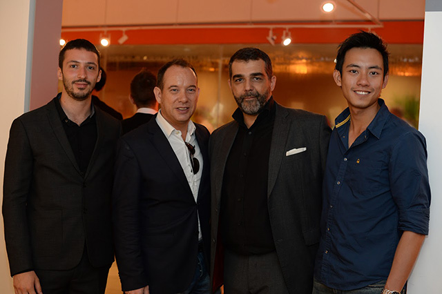 French artist Bruno de Caumont (second from right) with CEO and Publisher of Heart Media Group, Olivier Burlot (second from left)