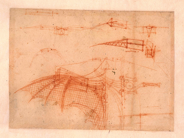 Drawing of a mechanical wing by Leonardo da Vinci (Circa 1490) Image credit: Veneranda Biblioteca Ambrosiana, Milano