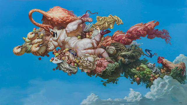 FU Lei, 天堂13号 (Paradise No. 13), 2014, Oil on canvas, 300 x 170 cm, Courtesy of Art Plural Gallery