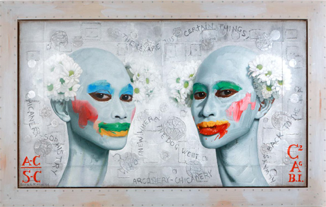 Ashley Bickerton, Arcanery-Chicanery/Chicanery-Sophistry, 2014, Mixed Media on Jute, 100 x 174 cm