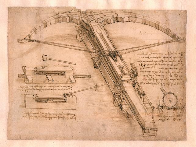 Drawing of a giant crossbow by Leonardo da Vinci (Circa 1485-92) Image credit: Veneranda Biblioteca Ambrosiana, Milano