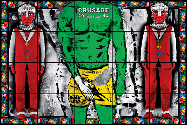 Gilbert & George, CRUSADE, From: Utopian Pictures, 2014, 20 panels, 245 × 377 cm, ILB0147
