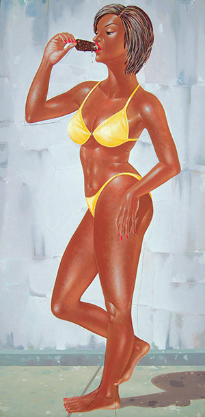 I Nyoman Masriadi  Ice Cream and Energy Drink 2005, Acrylic on canvas 200 x 100 cm