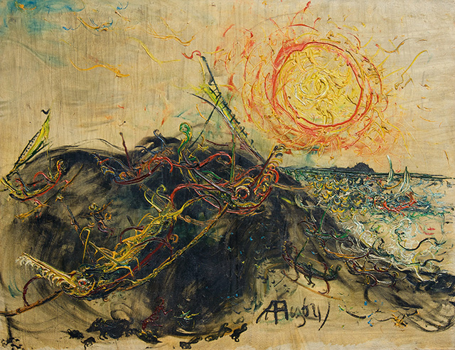 Affandi (1907 – 1990), Proas and Sun, 1964, Oil on canvas, 100 x 129.5 cm