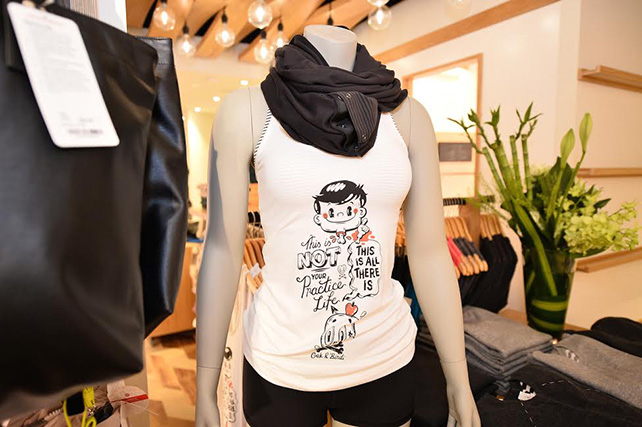 Lydia's artwork has also been used on custom Singapore product for Lululemon in the form of the Lululemon Cool Racerback Tank available for sale at the Lululemon store at ION Orchard B1-11.