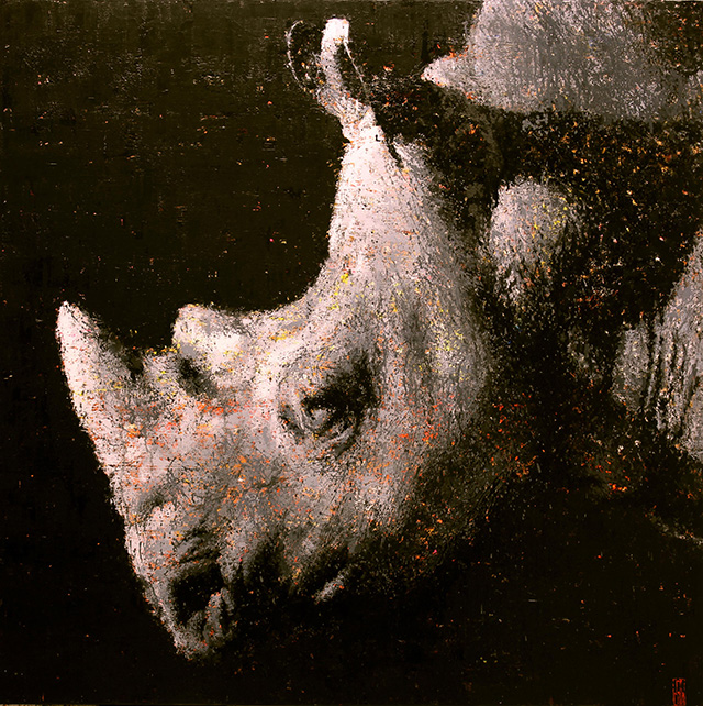 Rhino by Jon Landa, Oil on Canvas, 100 x 100 cm, 2014