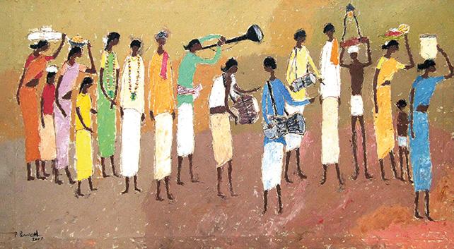 Village Wedding Procession – 02, P. Perumal, Oil on canvas, 2007