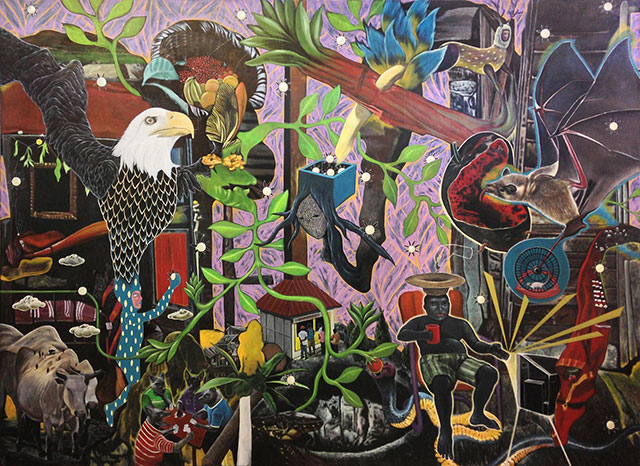 ARNDT Singapore: Rodel Tapaya, Eagle's Rebirth, 2014, Acrylic on canvas, 243 x 335 cm