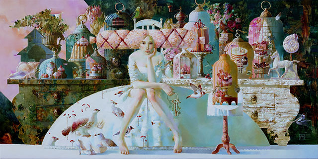 Anna Berezovskaya, The Diet, 2014, Oil on canvas, 100 x 200 cm