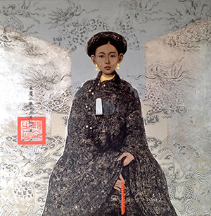 Bui Huu Hung, Royal Lady, Lacquer on wooden board 122 x 122 cm, 2014