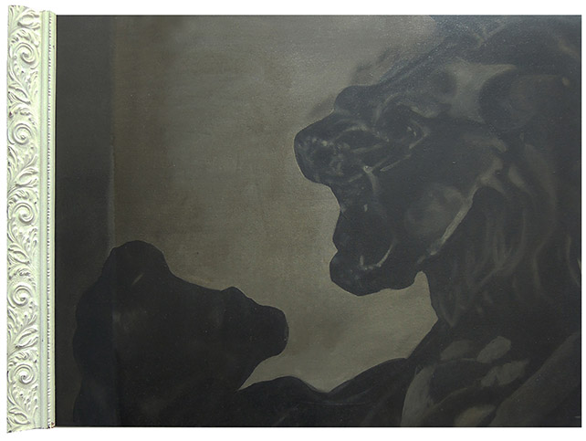 Fyerool Darma, Lion (fight) As Seen by His Chief Minister, Acrylic on canvas with wood,  67 x 53  cm, 2014