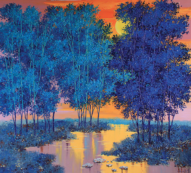 Lim Khim Katy, Night Moon, Oil on canvas, 140 x 155 cm, 2014