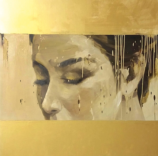 Phuong Quoc Tri, A Glance, Oil on canvas, 110 x 110 cm, 2015