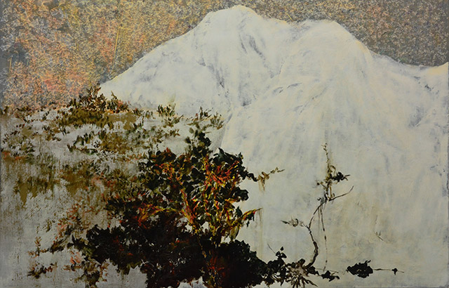 Tsang Chui Mei, A White Mountain, 2015, Acrylic on canvas, 80 x 122 cm