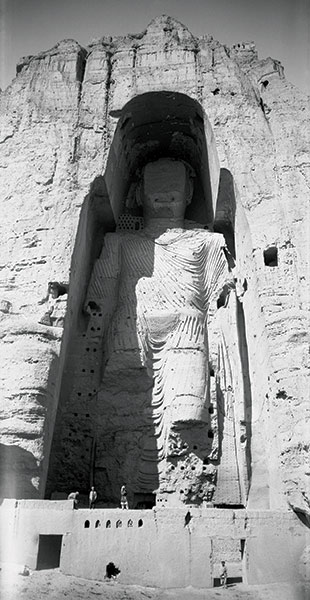 The Buddhas of Bamiyan were two 6th-century monumental statues of standing Buddha carved into the side of a cliff in the Bamyan valley in the Hazarajat region of central Afghanistan, 230 km northwest of Kabul at an altitude of 2,500 meters.