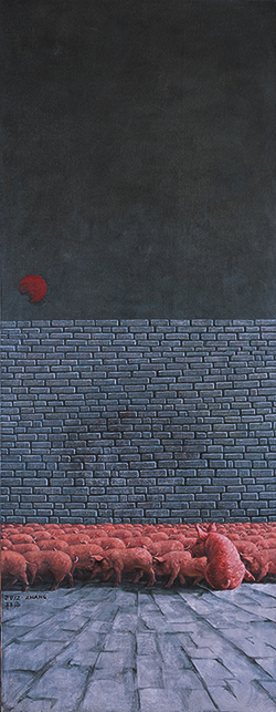 Zhang Linhai, Sandbox Series,180 x 70 cm, oil on canvas, 2012