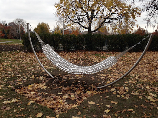 Pinaree Sanpitak, The Hammock, 2014/15, Unique Edition of 3, blown glass and steel, hanging position approximately 410 (l) x 120 (w) x 190 (h) cm Produced as part of Pinaree Sanpitak's Guest Artist Pavilion Project (GAPP) artist residency at the Toledo Museum of Art, Ohio, USA 2014
