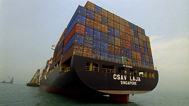 Allan Sekula and Noël Burch, Empty cargo ship, The Forgotten Space (2010), film still.
