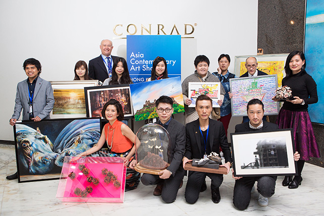 Asia Contemporary Art Show 2015 - Asia Contemporary Art Show Director Mark Saunderson (back row far left) with Hong Kong local artists TK Chan, Randy Cariz