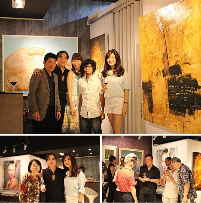 Clockwise from Top: Art Xchange Gallery Team with Ronald Walla and Agung Santosa,  Important Gallerists and guests blending in during the opening, and Art Xchange Director Benny Oentoro and wife Evelyn Sagita Kauw taking a picture with Thanh Kieu Moeller