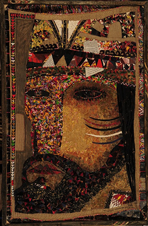 Fayzulla Akhmadaliev, Baha-ud-Din Naqshband, 2010. Oil, hand-woven cotton, hemp and  additional media, 252 x 164.5 cm