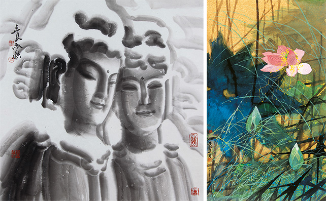 Left: Wang Yu Liang, Twin Statues in the Snow, Ink on Rice Paper, 68 x 68 cm, 2013 Right: Yuan Yun Fu, Shimmering Pond of Red Lotus, Ink & Colour on Rice Paper, 95 x 55 cm, 2011