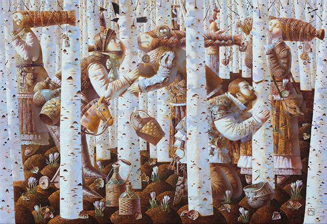 Anna Berezovskaya, Kissing the Birch, 110 x 160 cm, Oil on canvas