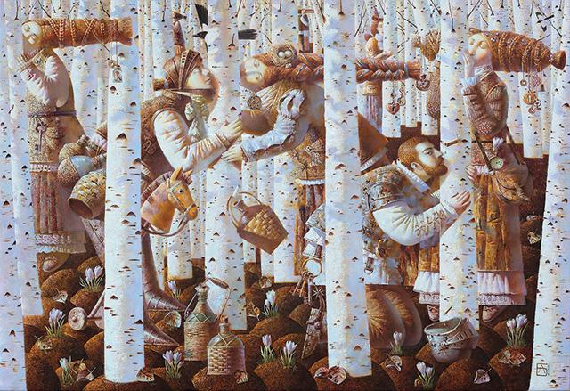 Anna Berezovskaya, Kissing the Birch, 110 x 160 cm, Oil on canvas