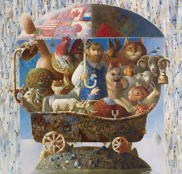 Anna Berezovskaya, Noah's Ark, 110 x 110 cm, Oil on canvas