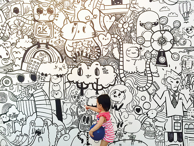Elizabeth exploring the site illustration by Band of Doodlers, Imagine-a-doodle, 2015 Photo credit: Rebecca Chew