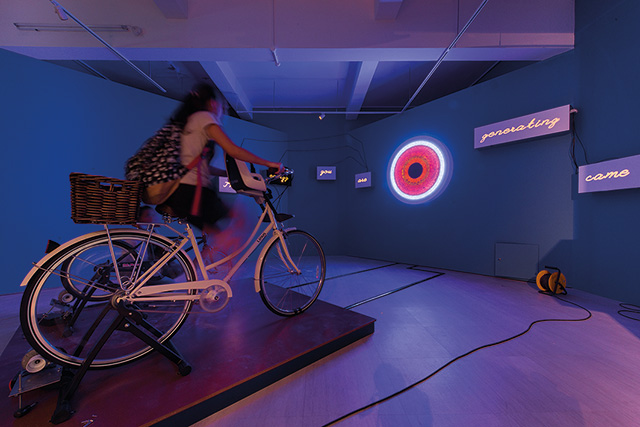 Vincent Twardzik Ching, Greenroom II: Interstellar Overdrive, 2015, Bicycles, generators, LEDs and stereo equipment, Photo credit: SAM