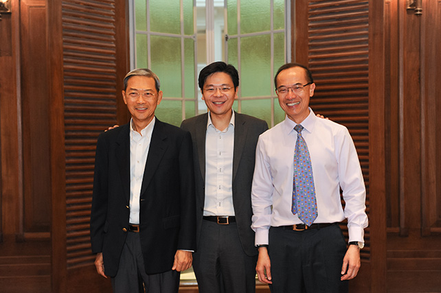Amongst the guests invited for the appreciation night were (from left) former Member of Parliament, Dr Lee Boon Yang, Minister Lawrence Wong, former Minister George Yeo