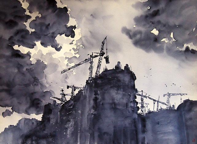 Aaron Gan, Rebuilding a Nation, 56 x 76 cm, Watercolour on paper, 2014