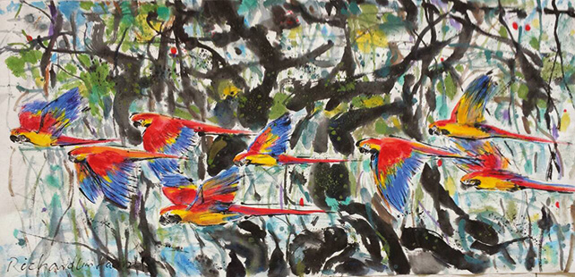 Richard Lim Han, Colours of the Wild, 61 x 122 cm, Chinese Ink on Paper, 2014