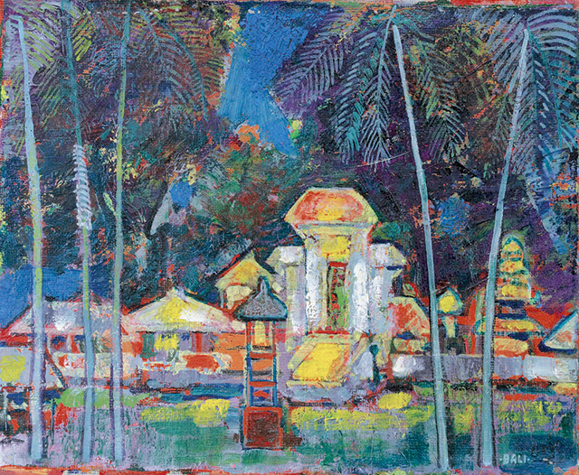 Arie Smit, Village Temple in Bali at Night, Oil on Canvas, 26 x 31 cm