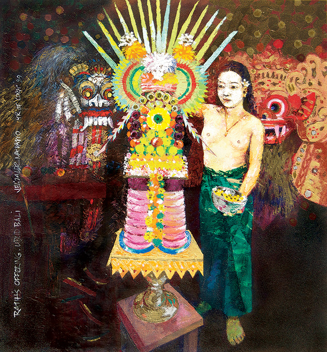 J. Elizalde Navarro, Ratih's Offering, 1989, Acrylic On Canvas, 90 x 80 cm