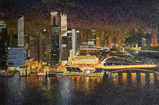 Les Conroy, Singapore At Night, Oil on Canvas, 36 x 24 inches (92 x 61.44 cm) from a photograph by M. Damboldt